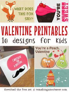 PRINTABLE #VALENTINES FOR KIDS - 10 designs, FREE