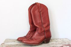 Vintage FRYE Boots / Western Cowboy Boots / Reddish Brown Leather Cowgirl Boots / Size 8 5 D Men 10 Women / Made in USA on Etsy, $144.00