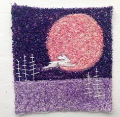Hare and Moon 8  embroidered artworkstitched by ImagineNorth, £45.00