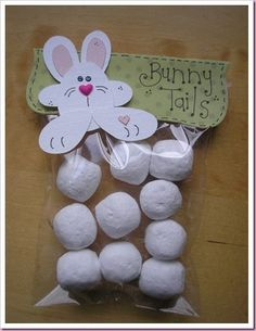 Here comes Peter Cottontail...Your Girlfriends Are Going To Fall In Love With These At Your Slumber Party.  You can use donut holes or marshmellows. http://itsallfiddlefart.blogspot.com/2010/02/bunny-tails.html