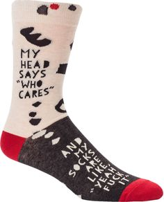 "For days that aren't even worth putting shoes on, ""My head says who cares and my socks are like yeah fuck it"" crew socks for men are the perfect match."