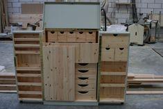 Storage Drawers, Locker Storage, Bedroom Furniture, Diy Furniture, Dollhouse Dresses, Sewing Station, Little Boxes, Sewing Notions, Adjustable Shelving