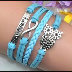 Make Offer! Cute Blue Owl Lovers Wrap Bracelet