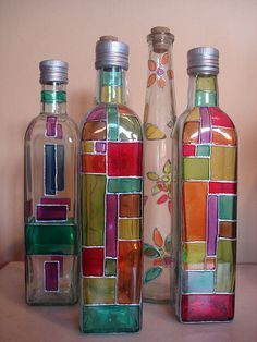 All of these grape bottle crafts offer a ton of methods to pull out and reinvented this everyday product, Would you like to decide to salvage your beer box or repurpose it? Painted Glass Bottles, Glass Bottle Crafts, Wine Bottle Art, Diy Bottle, Bottles And Jars, Glass Jars, Glass Containers, Beer Bottles, Glass Painting Designs