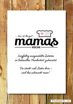 "Euer Lieblingsrestaurant heißt ""Mamas Küche""? Weil's da einfach schmeckt wie bei Mutti? ;) Liebevolle Geschenkidee zum Muttertag: Druck/Wandbild/Print ""Mamas Küche"""