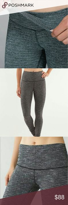 Wunder Under Roll Down Coco Pique In excellent condition, no flaws. Waist can be rolled down to adjust to your preferred rise. Made of full on luon. Full length leggings lululemon athletica Pants Leggings