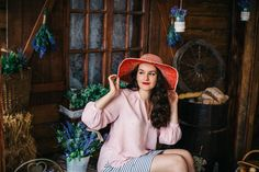 Simple Country Style.  Rosy Blouse, Striped Skirt, Red Hat
