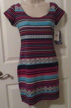 Ladies Love fire Fuschia Tee Shirt Dress, Med, Round Neck, Tapered Waist, NWT's #LoveFire #TeeShirtDress #Clubwear