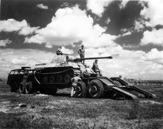 """Captured by Americans Panzerkampfwagen V Panther Ausf. D on M25 Transporter """"Dragon Wagon"""""""