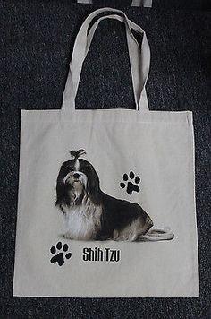 Medium Sized Shih Tzu Dog Canvas Tote Bag Shopping Bag Grocery Bag Reusable