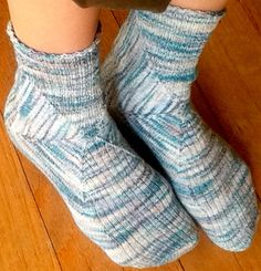 These are unusually constructed socks at a fine gauge. It's a challenging pattern, and assumes a lot of familiarity with sock techniques. Knitting Stitches, Knitting Socks, Knitting Patterns, Crochet Patterns, Knit Socks, Knitting Ideas, Foot Warmers, Wrist Warmers, Knitted Slippers
