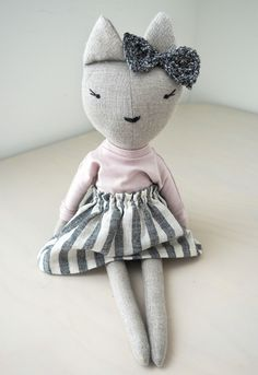 'Koko' Linen Handmade Cat Doll  by lespetitesmainss on Etsy - Tap The Link Now Find that Perfect Gift
