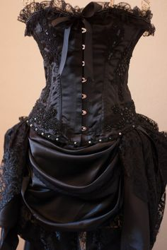 BLACK GYPSY  Steampunk Black Burlesque Corset Costume by olgaitaly, $290.00