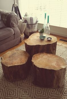 Coffee table made of large pieces of oak tree.