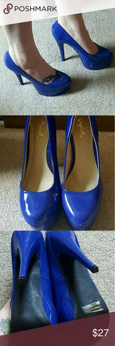 Qupid Penelope Pumps in Electric Blue 8 1/2 Blue baby! These are show stoppers. I wore them for a pinup photoshoot and they were perfect! Used but good condition Qupid Shoes Heels