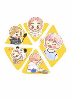 Fanart, Exo Xiumin, Chibi, Aesthetics, Cute, Cards, Kawaii, Maps, Fan Art