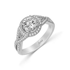 Dream by Thimke Jewelers: double row twisted shank engagement ring with vintage halo. #dreamjeweler #diamond #engagement