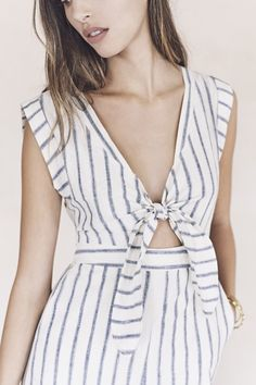 your sneak peek at madewell's spring 2016 collection: striped cutout jumpsuit. pre-order your favorites now by calling 866-544-1937 (434-385-5792 for our international friends) or email shopfirst@madewell.com to get first dibs  #everydaymadewell