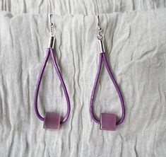 Purple Dangle Leather Earrings Opal and Leather by SShBoutique