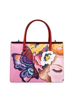 Saffiano Print Butterfly Satchel Bag by Prada at Neiman Marcus. #NMshoelove #NMhandbags