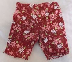 Miniwear Baby Girl Shorts 0-3M Burgundy Red Stretchy Pink Flowers Daisies #Miniwear #Shorts #Everyday