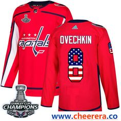 b60f9febc Adidas Washington Capitals Braden Holtby Red Home Authentic USA Flag  Stanley Cup Final Champions Stitched NHL Jersey
