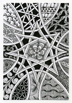"""Weekly Challenge #78: """"New Official Tangle: Auraknot"""" ~ by Certified Zentangle Teacher Sandy Hunter"""
