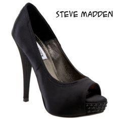 "Steve Madden Black Satin Feelixx Heels Steve Madden Black Satin Feelixx Peep Toe Heels. Size 7.5 M. Glittering rhinestones illuminate the partially hidden platform of the lustrous satin pump styled with an open toe and sky-high heel. Shoe details: wrapped heel and platform. Approximate heel height 4 1/2"" with 1"" platform satin upper/synthetic Lining and sole. Bottoms show signs of wear, see photo. In good condition. Steve Madden Shoes Heels"