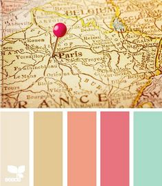 Color palette inspired by antique maps & globes for a travel-inspired wedding.