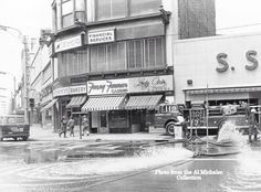 1972 Agnes Flood clean up looking towards South Main St from Public Square
