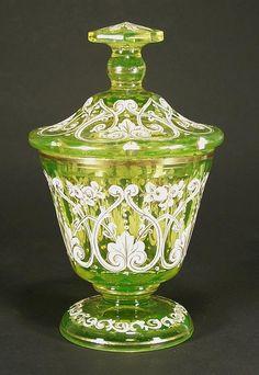 Biedermeier Uranium Glass Covered Box 1840