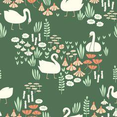 Elizabeth Olwen - Park Life - Royal Swans in Green