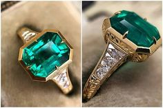 Bridal Jewelry Custom Colombian Emerald ring by CvB Custom Jewelry - Emerald Ring Vintage, Emerald Jewelry, Gemstone Jewelry, Gold Jewellery, Jewellery Shops, Mens Emerald Rings, Emerald Ring Gold, Ruby Rings, Jewellery Storage