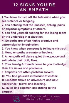 Being an empath is all about 'feeling' the emotions of others. Do you feel that you just know things without being told? Or, do you feel overwhelmed in busy and loud place? Do you feel the emotions of those near you? Empath Traits, Intuitive Empath, Psychic Empath, Empath Abilities, Psychic Abilities, Psychic Powers, Infj, Introvert, Highly Sensitive Person