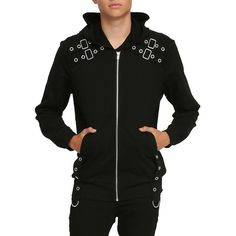 Tripp Black Grommet Hoodie Hot Topic ($65) ❤ liked on Polyvore featuring tops, hoodies, hooded pullover, tripp, black hoodies, cotton hoodie e cotton hoodies