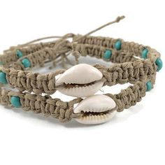 Real Seashell Anklet/ Bracelet/ Hemp Anklet with Cowrie Seashell and Turquoise Beads/ Hemp Anklet/ Hemp Bracelet/ Real Seashell Jewelry