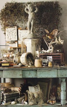 Shabby French Clutter ~ love it! Antique Mall Booth, Antique Booth Ideas, Vintage Display, Antique Show, Antique Stores, Antique Store Displays, Vintage Market, Vintage Shops, Vintage Farm