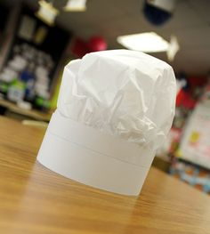 easy chef hats out of tissue paper and sentence strips