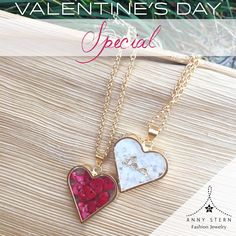 "❤️ Valentine's Day Special! ❤️  Captivate her heart with our Capsules of Love in 18k Gold filled Necklaces. Get 25% OFF on your purchase, when using the PromoCode: ""LOVE U"" on our website or Instagram (Available in bamboo coral, white salt or Himalayan pink salt).  >> Fall in love with our collections and exclusive gemstone pieces at www.annystern.com <<"