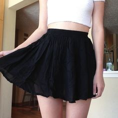 Brandy Melville Black Skirt stretchy waistband. thin, slightly sheer material (just wrinkly in photo). never worn, perfect condition. CHEAPER ON Ⓜ️ERCARI! Brandy Melville Skirts