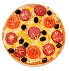 Stock image of 'Pizza over a white background'