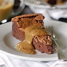 Chocolate Peanut Butter Truffle Torte with a Peanut Butter Sauce