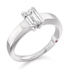 'Isis' emerald cut diamond and platinum engagement ring by Charles Fish
