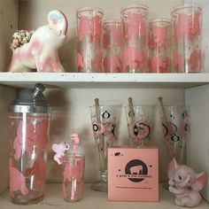Vintage Elephant, Elephant Love, Vintage Colors, Vintage Pink, Pink Elephants On Parade, Vintage Cocktails, Granny Chic, Mason Jar Lamp, Pink Love
