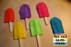 Pretend Play: Ice Cream Shop- Make these popsicles and pom pom ice cream
