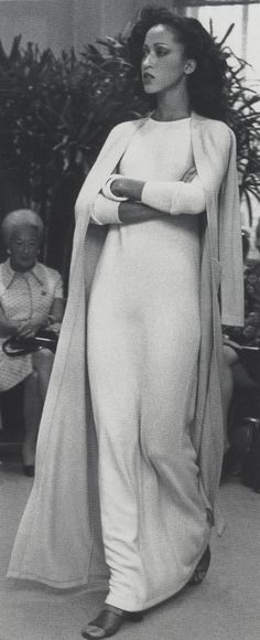 Simplistic elegance Halston 1972 never underestimate the effect of matching cardigan/kimono with your dress