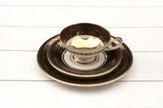 Vintage Tea Cup and Saucer Trio Set Dark