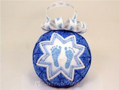 It's a Boy Blue Quilted Ornament 2013 (Q138) $15 Baby feet on one side and 2013 on opposite side.