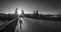 Charles Bridge Prague Charles Bridge, Prague, Black And White Photography, Railroad Tracks, City, Beautiful, Black White Photography, Bw Photography, Cities