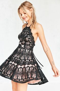 Glamorous Baroque Lace Fit + Flare Mini Dress